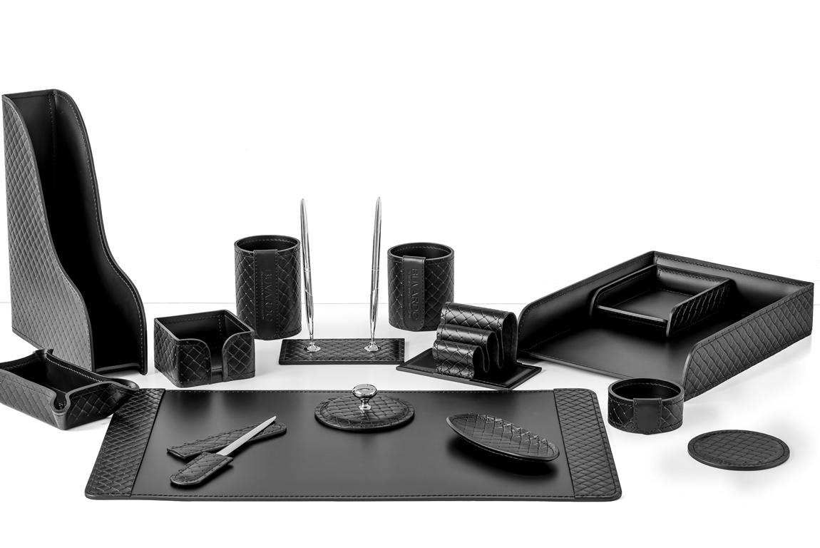 Набор из 15 предметов для стола руководителя - цвет черный