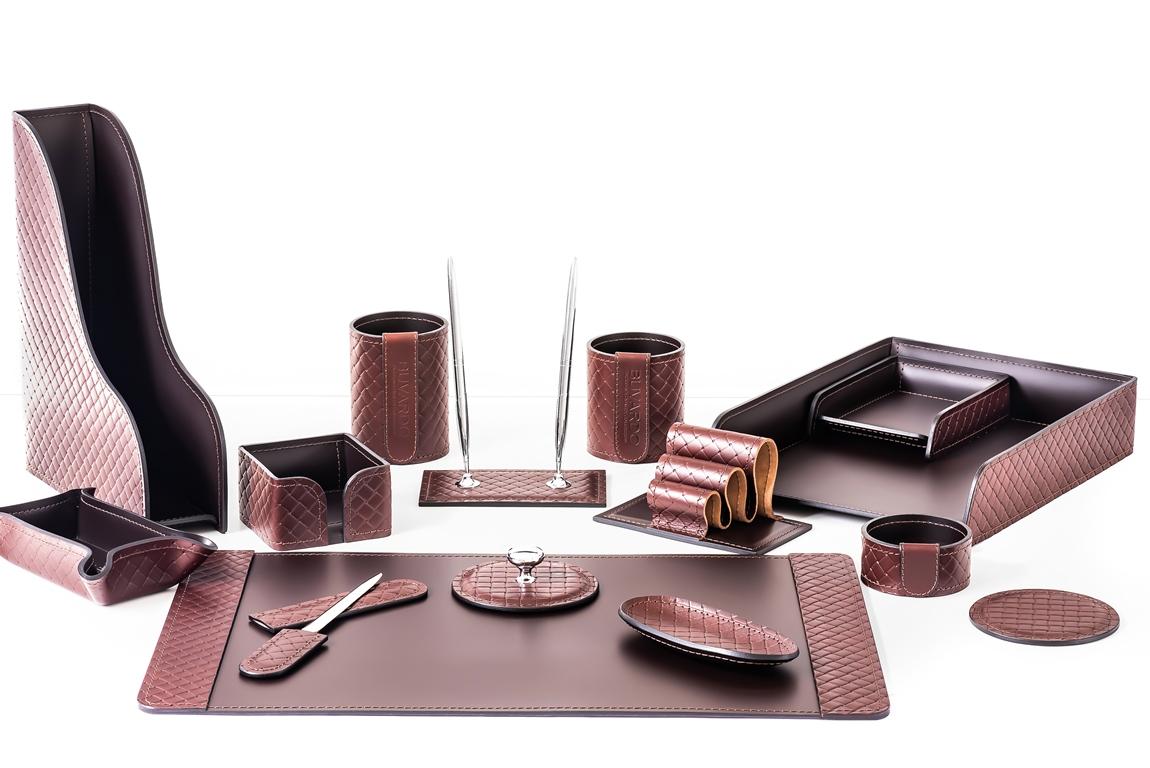 Набор для кабинета руководителя из 15 предметов, кожа, коричневый