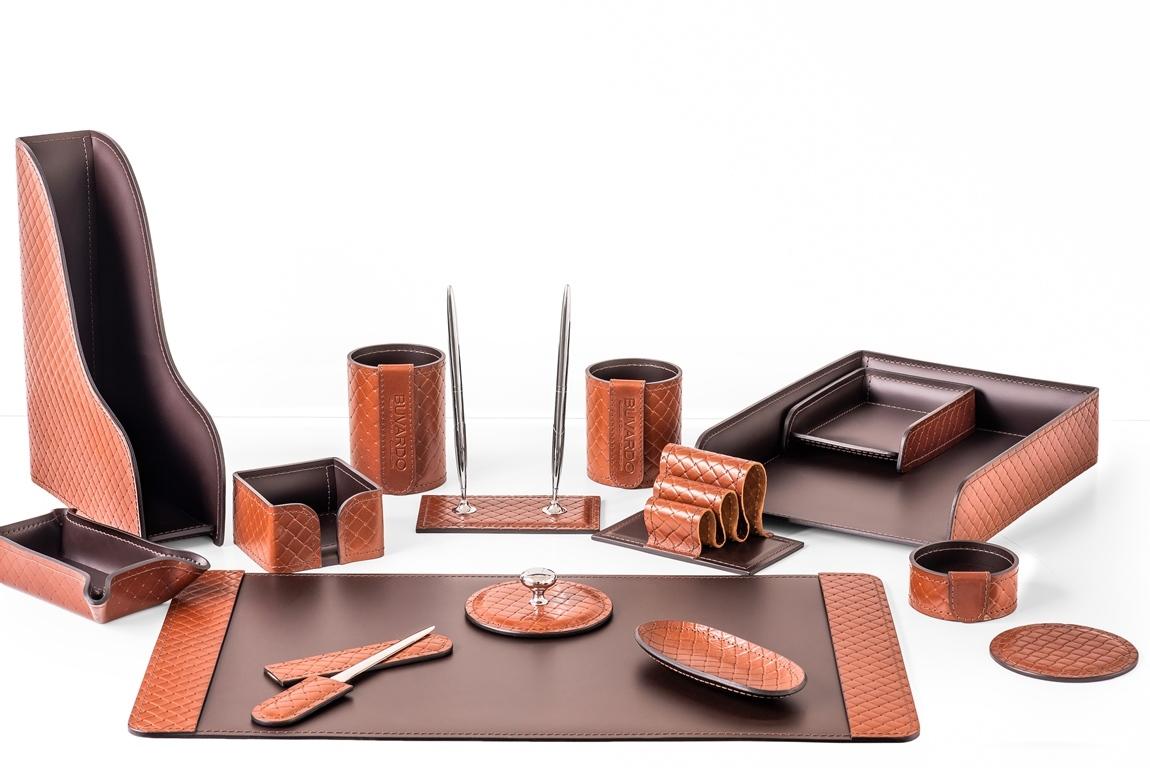 Кожаный настольный набор для руководителя, 15 предметов в комплекте, цвет TAN