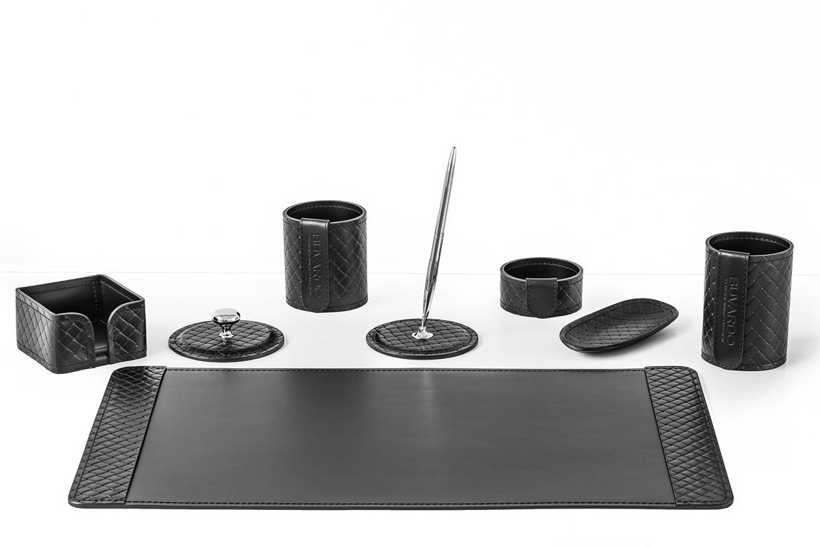 Настольный кожаный набор из 8 предметов - черная кожа