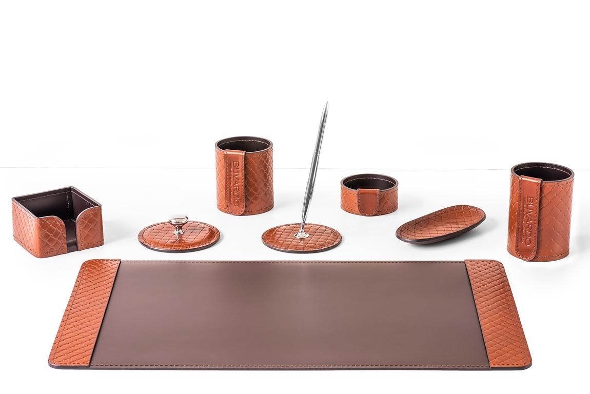 Настольный кожаный набор из 8 предметов - кожа цвет TAN