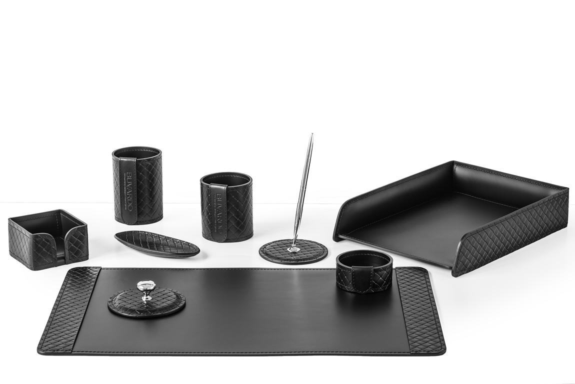 Настольный набор руководителя из 9 предметов, черного цвета