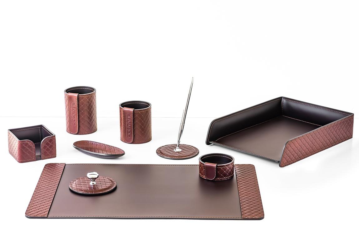 Коричневый кожаный настольный набор для руководителя - 9 предметов