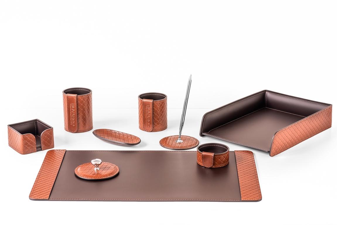 Набор из 9 предметов, цвет TAN, кожаный настольный набор